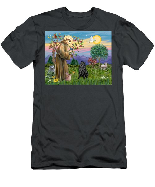 Saint Francis Blesses A Black Chinese Shar Pei Men's T-Shirt (Athletic Fit)