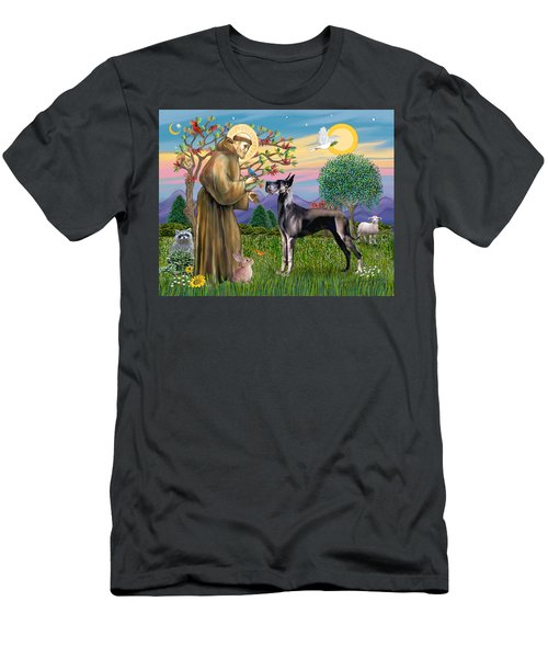 Saint Francis Blesses A Black Great Dane Men's T-Shirt (Athletic Fit)