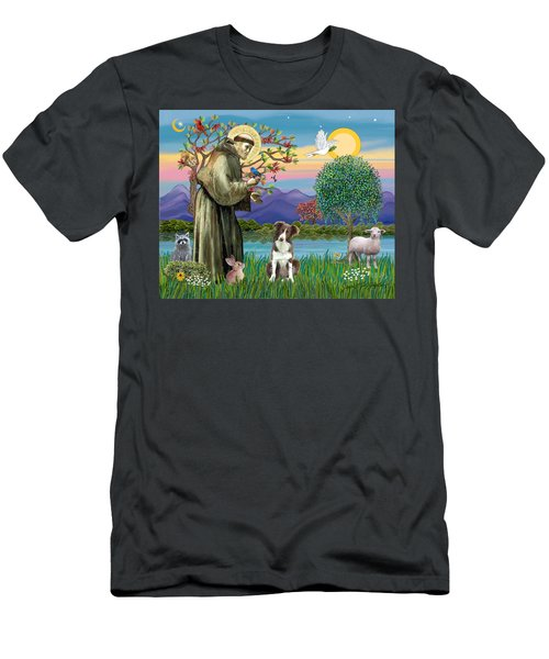 Saint Francis Blesses A Brown And White Border Collie Men's T-Shirt (Athletic Fit)