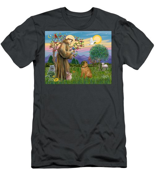 Saint Francis Blesses A Chinese Shar Pei Men's T-Shirt (Athletic Fit)