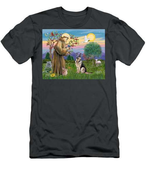 Saint Francis Blesses A German Shepherd Men's T-Shirt (Athletic Fit)