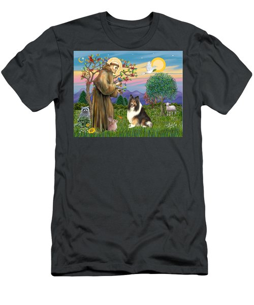 Saint Francis Blesses A Sable And White Collie Men's T-Shirt (Athletic Fit)