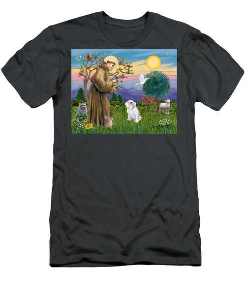 Saint Francis Blesses An English Bulldog Men's T-Shirt (Athletic Fit)