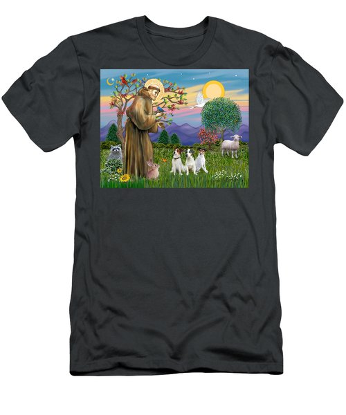 Saint Francis Blesses Three Jack Russell Terriers Men's T-Shirt (Athletic Fit)