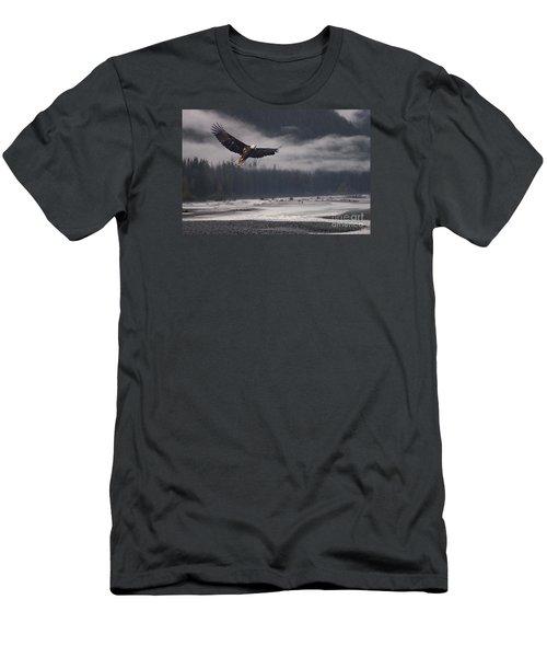 Salmon River Mist Men's T-Shirt (Slim Fit) by Stanza Widen