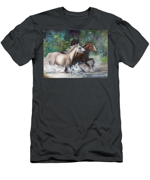 Salt River Horseplay Men's T-Shirt (Slim Fit) by Karen Kennedy Chatham