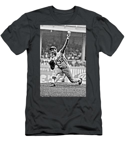 Sandy Koufax Throwing The Ball Men's T-Shirt (Athletic Fit)