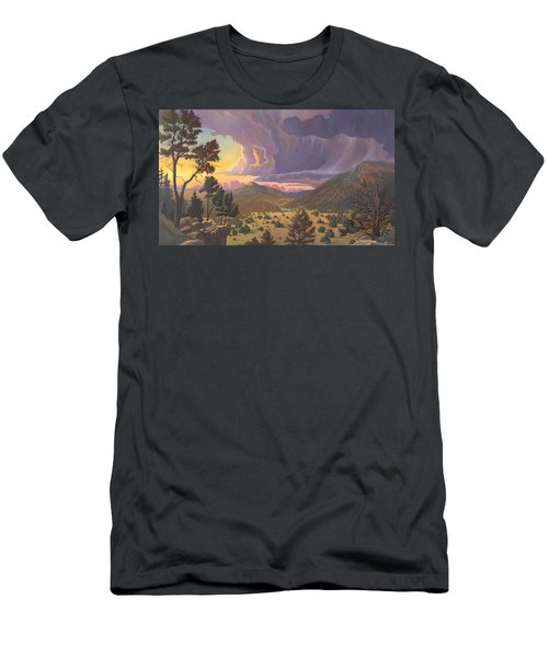 Men's T-Shirt (Slim Fit) featuring the painting Santa Fe Baldy by Art James West