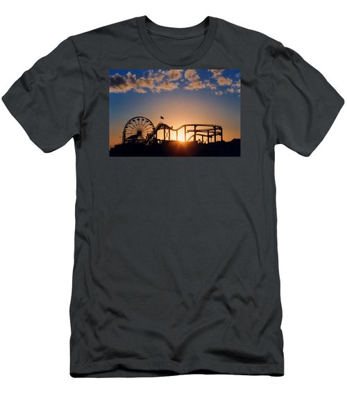 Santa Monica Pier Men's T-Shirt (Slim Fit) by Art Block Collections