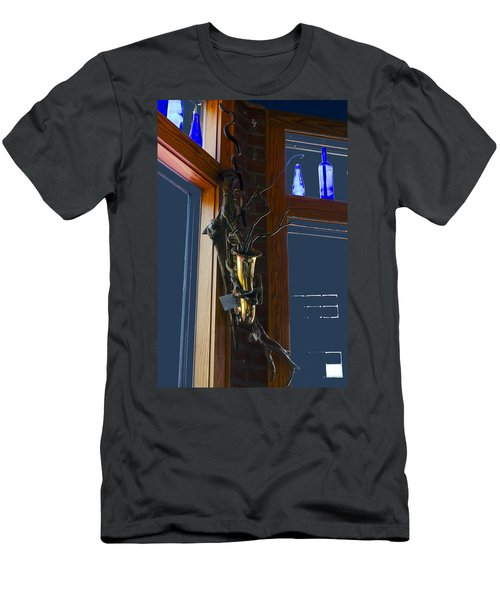Men's T-Shirt (Slim Fit) featuring the photograph Sax At The Full Moon Cafe by Greg Reed