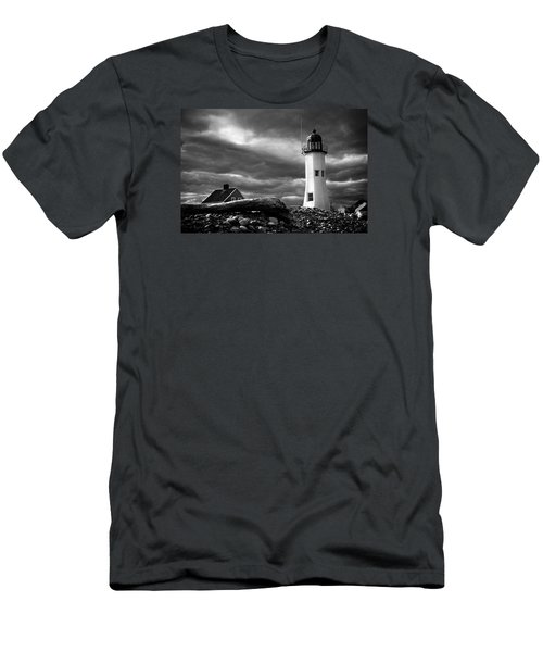 Men's T-Shirt (Slim Fit) featuring the photograph Scituate Lighthouse Under A Stormy Sky by Jeff Folger