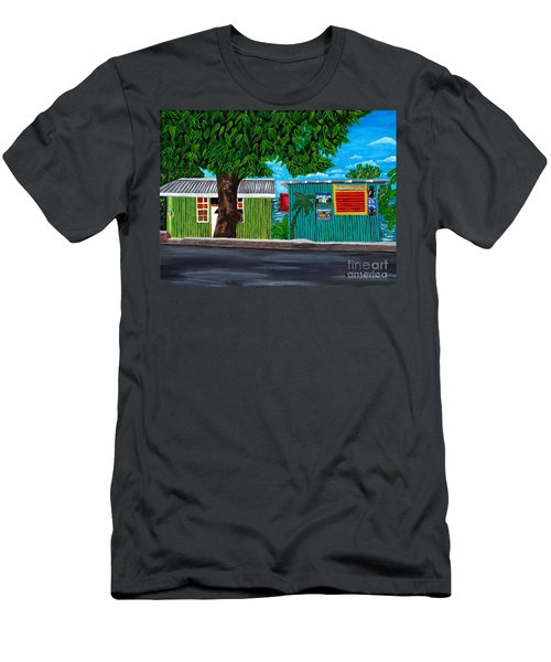 Men's T-Shirt (Slim Fit) featuring the painting Sea-view Cafe by Laura Forde