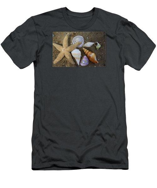 Seashells And Star Fish Men's T-Shirt (Slim Fit) by Dora Sofia Caputo Photographic Art and Design