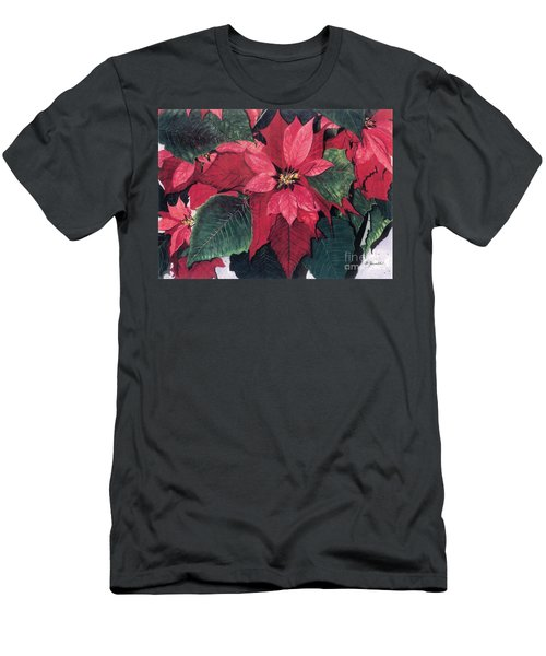 Men's T-Shirt (Slim Fit) featuring the painting Seasonal Scarlet 2 by Barbara Jewell