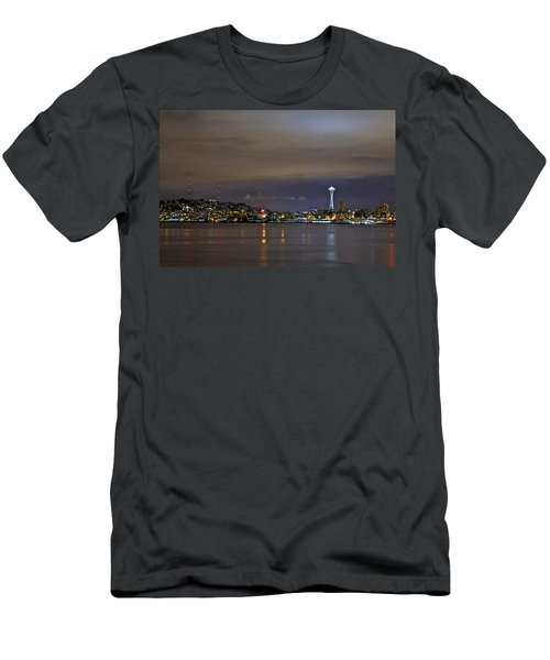 Seattle Cityscape At Night Men's T-Shirt (Athletic Fit)