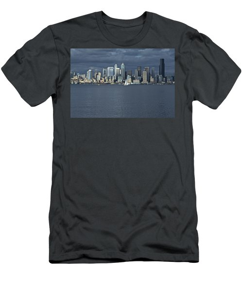 Seattle Cityscape From Alki Beach Men's T-Shirt (Athletic Fit)