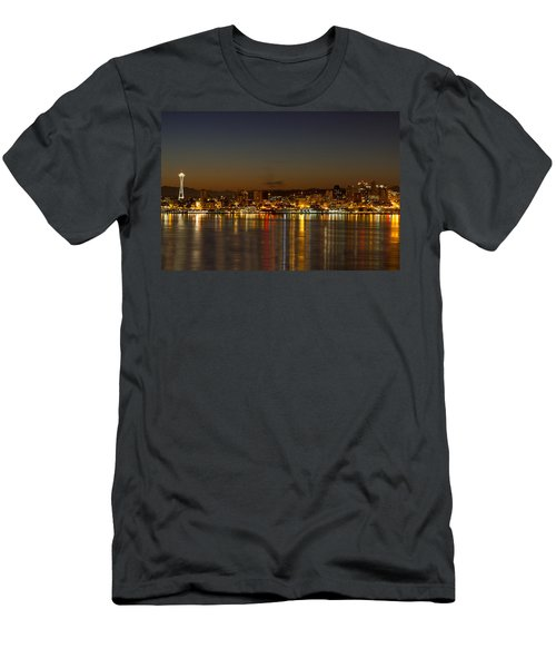 Men's T-Shirt (Slim Fit) featuring the photograph Seattle Downtown Skyline Reflection At Dawn by JPLDesigns