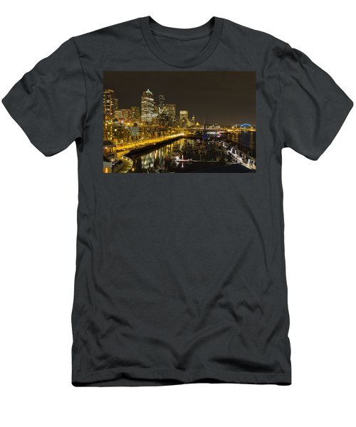 Men's T-Shirt (Slim Fit) featuring the photograph Seattle Downtown Waterfront Skyline At Night Reflection by JPLDesigns