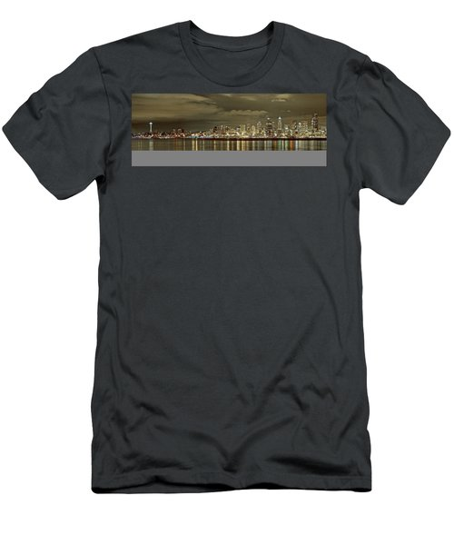 Seattle Lights At Night From Alki Men's T-Shirt (Athletic Fit)