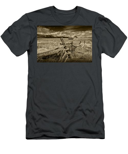 Sepia Colored Photo Of A Wood Fence By The John Moulton Farm Men's T-Shirt (Athletic Fit)