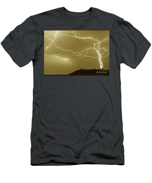 Sepia Converging Lightning Men's T-Shirt (Athletic Fit)
