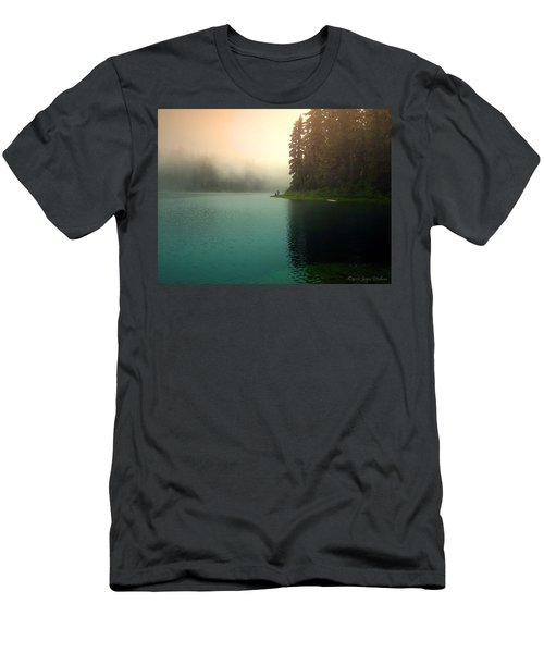 Serenity On Blue Lake Foggy Afternoon Men's T-Shirt (Slim Fit) by Joyce Dickens