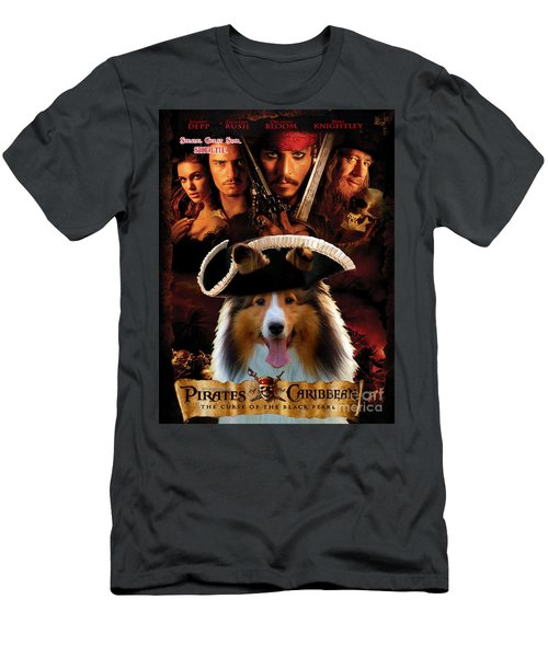 Sheltie - Shetland Sheepdog Art Canvas Print - Pirates Of The Caribbean The Curse Of The Black Pearl Men's T-Shirt (Athletic Fit)