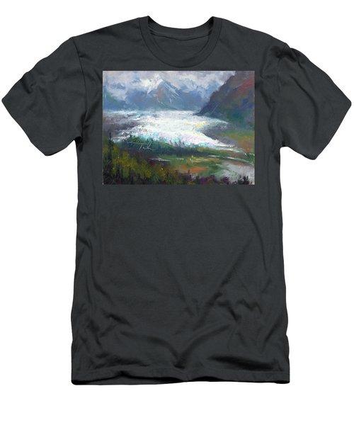 Men's T-Shirt (Athletic Fit) featuring the painting Shifting Light - Matanuska Glacier by Talya Johnson