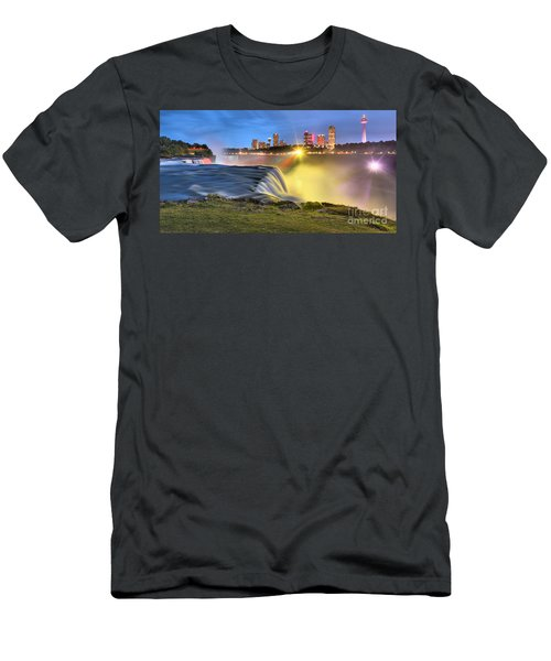 Silky Niagara Falls Panoramic Sunset Men's T-Shirt (Athletic Fit)
