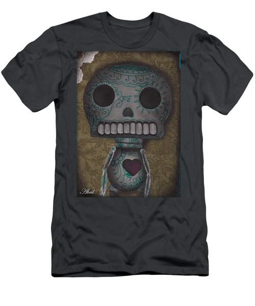 Skelly With A Heart Men's T-Shirt (Slim Fit) by Abril Andrade Griffith