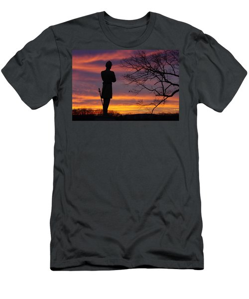 Men's T-Shirt (Slim Fit) featuring the photograph Sky Fire - 124th Ny Infantry Orange Blossoms-1a Sickles Ave Devils Den Sunset Autumn Gettysburg by Michael Mazaika