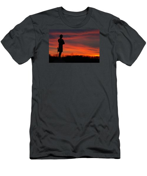 Men's T-Shirt (Slim Fit) featuring the photograph Sky Fire - Aotp 124th Ny Infantry Orange Blossoms-2a Sickles Ave Devils Den Sunset Autumn Gettysburg by Michael Mazaika