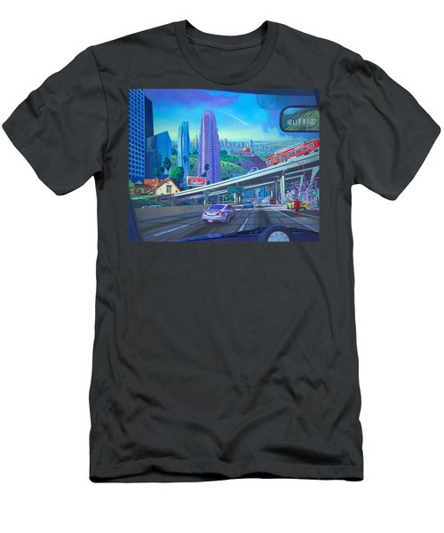 Men's T-Shirt (Slim Fit) featuring the painting Skyfall Double Vision by Art James West