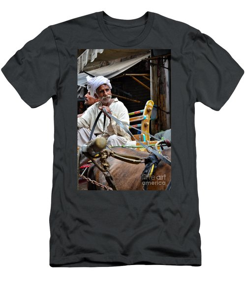 Smiling Man Drives Horse Carriage In Lahore Pakistan Men's T-Shirt (Athletic Fit)