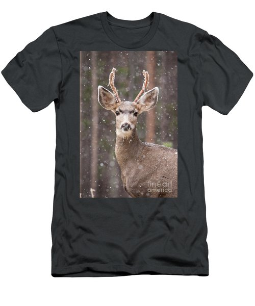 Men's T-Shirt (Athletic Fit) featuring the photograph Snow Deer 1 by John Wadleigh