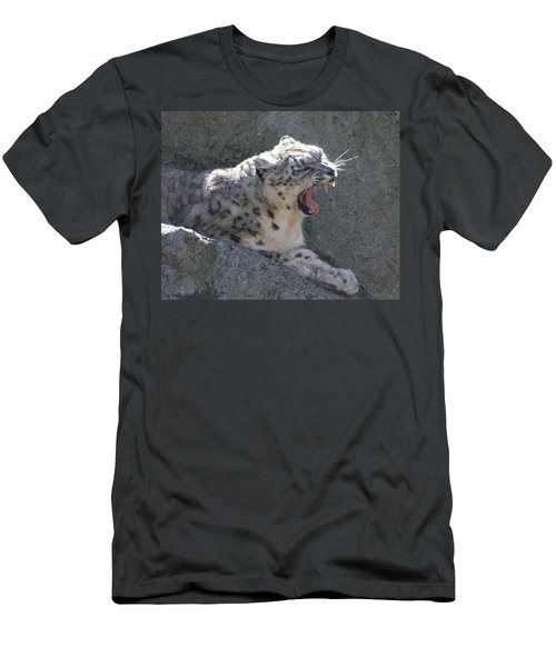 Men's T-Shirt (Slim Fit) featuring the photograph Snow Leopard Yawn by Neal Eslinger