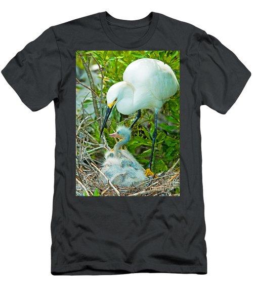 Snowy Egret Tending Young Men's T-Shirt (Athletic Fit)