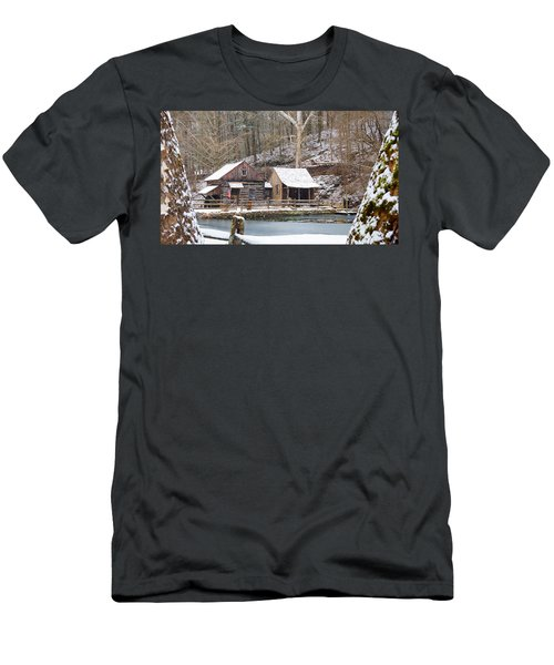 Snowy Morning In The Woods Men's T-Shirt (Athletic Fit)