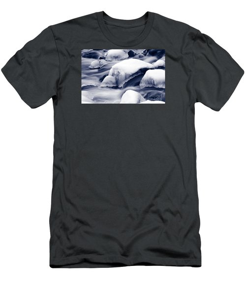 Men's T-Shirt (Slim Fit) featuring the photograph Snowy Rocks by Liz Leyden