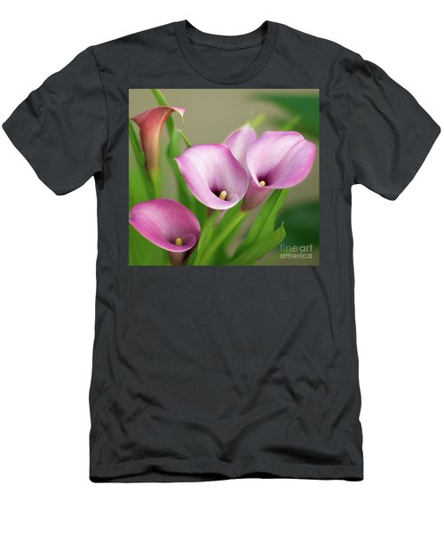 Soft Pink Calla Lilies Men's T-Shirt (Athletic Fit)