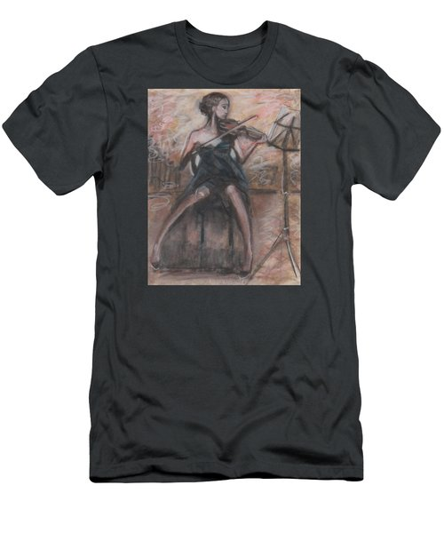 Men's T-Shirt (Slim Fit) featuring the painting Solo Concerto by Jarmo Korhonen aka Jarko