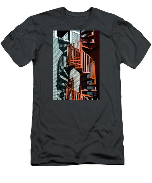 Men's T-Shirt (Slim Fit) featuring the photograph Spiral Stairs - Color by Darryl Dalton