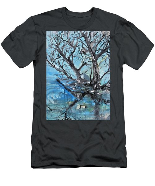 Men's T-Shirt (Slim Fit) featuring the painting Spooky Mood by Evelina Popilian