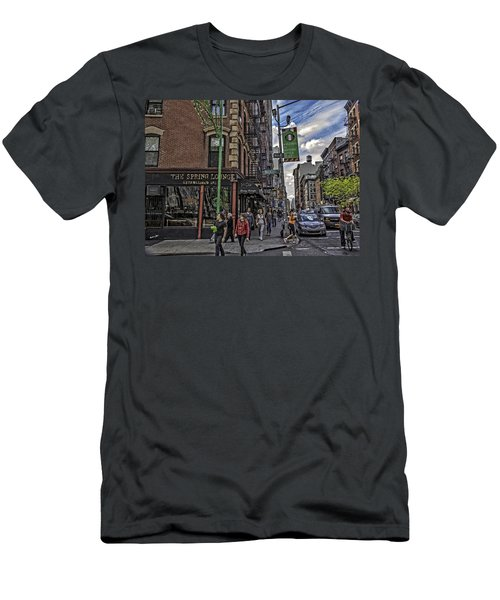 Spring And Mulberry - Street Scene - Nyc Men's T-Shirt (Athletic Fit)