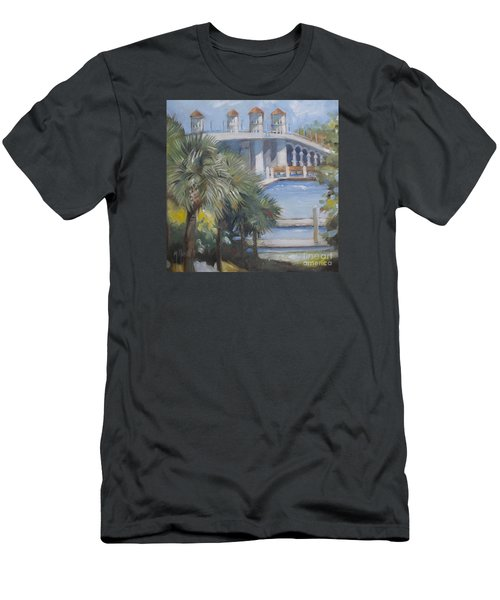 St Augustine Bridge Of Lions Men's T-Shirt (Slim Fit) by Mary Hubley