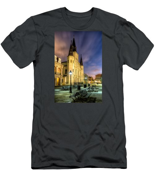 St. Louis Cathedral At Dawn Men's T-Shirt (Slim Fit) by Tim Stanley