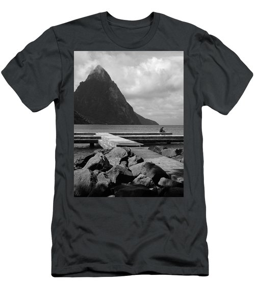 St Lucia Petite Piton 5 Men's T-Shirt (Slim Fit) by Jeff Brunton
