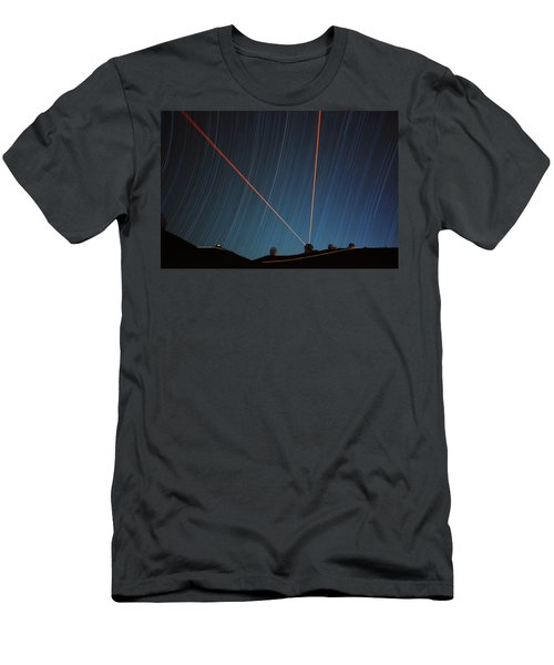 Star Trails Over Mauna Kea Observatory Men's T-Shirt (Athletic Fit)