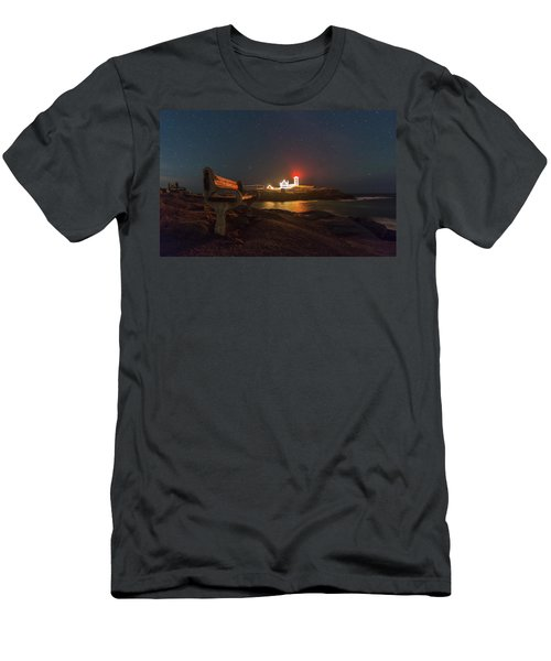 Starry Skies Over Nubble Lighthouse  Men's T-Shirt (Athletic Fit)