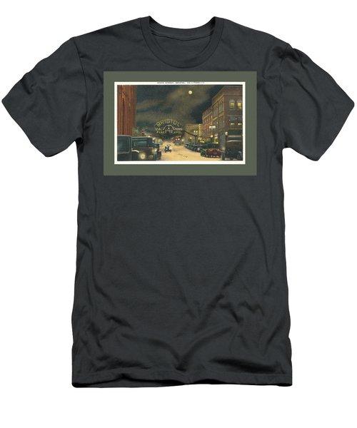State Street Bristol Va Tn At Night Men's T-Shirt (Athletic Fit)
